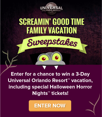 Enter for a chance to win a 3-Day Universal Orlando Vacation, including a special Halloween Horror Nights Event!