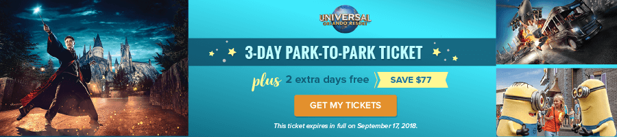 3-Day Park to Park Ticket - plus 2 extra days free - Save $77
