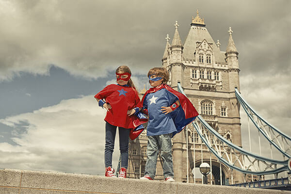 London Bridge with superhero kids