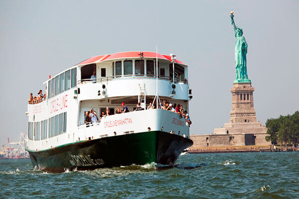 New York City boat tour past Statue of Liberty