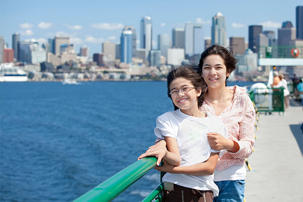 Seattle pier with family